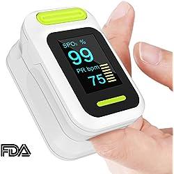 Yevita Oxímetro de Dedo Monitor Pulsómetro Digital Pulsioxímetro Pulímetro con Certificación de FDA Medidor de Sangre Oxígeno, Frecuencia Cardíaca Sensor con Cordón-para Adultos y Niños