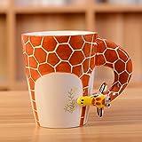 3D Pure handgemaltes Cute Animal Keramik Kaffee Becher Kaffee Tasse (Giraffe)