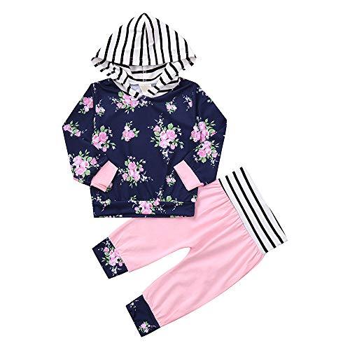 Sterben Kinder Hoodie (Kinderkleidung Set Kleinkind Baby Mädchen Jungen2pcs Baby-Mädchen Kleidung stellte Blumen Hoodie Oberseiten Hosen Outfits Set LMMVP(6-24Monat)