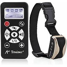 A+Tainer 162 Collar Adiestramiento para Perros o Mascotas con Modos de Vibración Sonidos y Auto Collar RC Control Remoto Antiladridos - Color Champagne