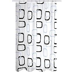 "MSV 141674 Anti-Schimmel Duschvorhang - Anti-Bakteriell, waschbar, wasserdicht, mit 12 Duschvorhangringen - Polyester, ""Quadrat"" 180x200cm"