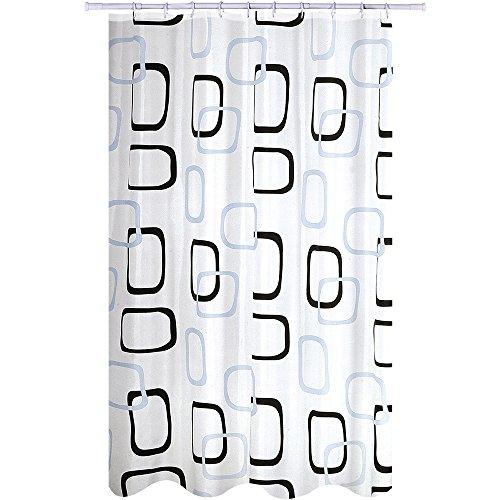 """MSV 141674 Anti-Schimmel Duschvorhang - Anti-Bakteriell, waschbar, wasserdicht, mit 12 Duschvorhangringen - Polyester, """"Quadrat"""" 180x200cm - Klar Liner Vorhang Dusche"""