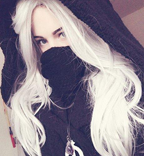 Vébonnie Realistische schauende Platin-Blondine Spitze-Frontseiten-Perücken für weiße Frauen Beste Cosplay Perücken uk Erschwingliche wellenförmige synthetische Haar-lange Perücken 24 Zoll (Art- und Weiseplatin-Blondine)