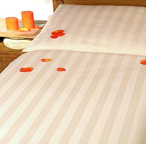 Carpe Sonno Damast Hotel-Bettwäsche-Set Crema creme uni – Bettdecke und Kopfkissen-Bezug aus Satin-Baumwolle mit Reißverschluss – Der elegante Bett-Bezug mit leichtem Glanz für das ganze Jahr