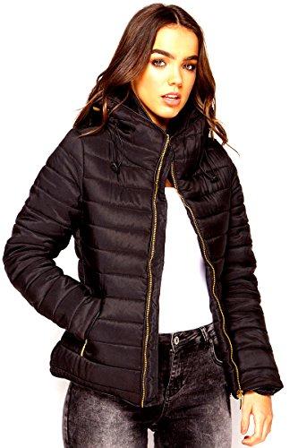 Fashion Oasis nuevo en señoras acolchado acolchada con capucha cremallera oro burbuja chaqueta de cuello de piel caliente gruesa para Reino Unido tamaño 8–14 Negro negro 36