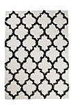 Tapiso Scandinavia Shaggy Teppich Hochflor | Modern Weiss Schwarz mit Geometrisch - Marokanisch Designer Muster | Weich 5 cm Langflor Teppiche für Wohnzimmer, Schlafzimmer | ÖKOTEX 160 x 220 cm