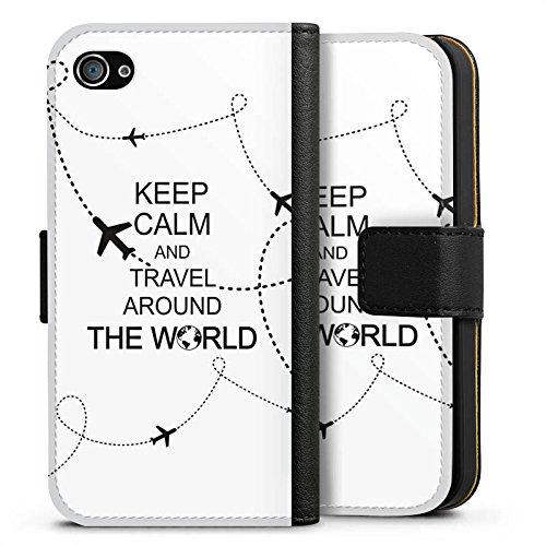 Apple iPhone X Silikon Hülle Case Schutzhülle Reisen Travel Keep Calm Sideflip Tasche schwarz