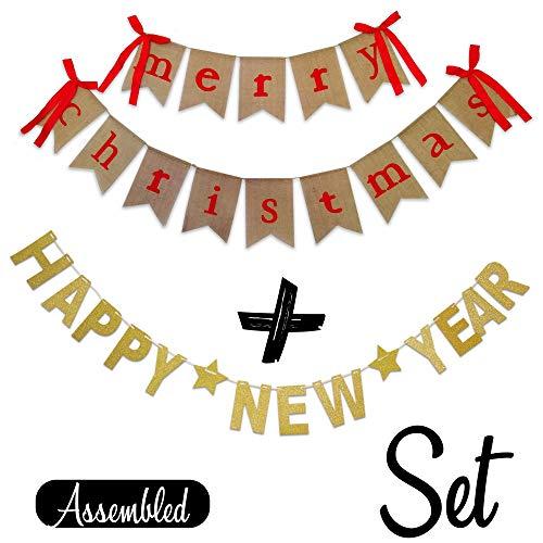 Banner, Happy New Year, Gold Banner, Girlande Urlaub Foto-Requisite, Weihnachtsdekoration, 2-teiliges Set ()