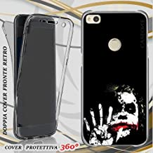 CUSTODIA COVER CASE JOKER BLACK WHITE PER HUAWEI P8 LITE 2017 FRONT BACK