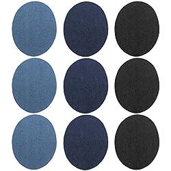 Gosear 9pcs Denim Ferro-on Turno Patch Fai Artigianato Jeans Vestiti Patch Riparazione Kit Accessorio