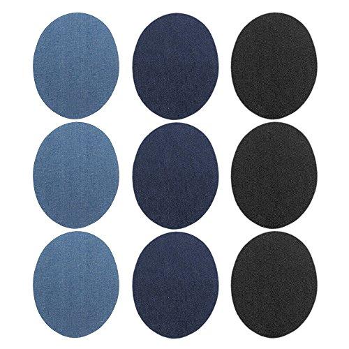 Denim-patch-kit (Gosear 9 stk Denim Bügeleisen Runde Patches DIY Handwerk Jeans Kleidung Patches Reparatur Kit Zubehör)