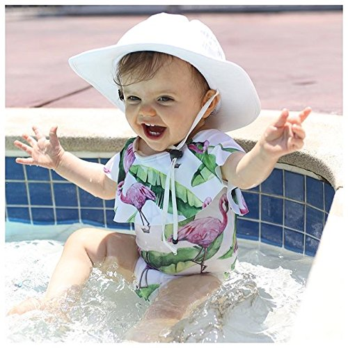 Carolilly Chic Maillot de Bain Enfant Bébé Fille 1 Pièce Imprimé des Flamants Col Rond avec Dentelle