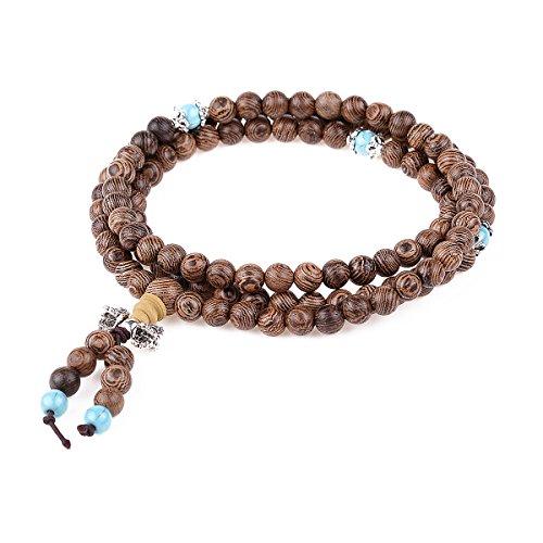 HooAMI Bracelet Prière Bouddhiste Chapelet Unisexe 108 Perles En Bois et Turquoise de Rose Charme Bijoux Pour Femme Homme