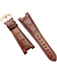 25mm marrón cuero correa de reloj banda hebilla de oro rosa apto Patek Philippe 5711|5712