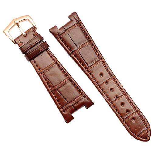 25mm braun Leder Uhrenarmband Band Rose Gold Schnalle für PP 5711|5712Ersatz