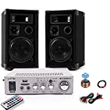 PA Party Kompakt Musikanlage Boxen Verstärker Bluetooth USB SD MP3 DJ-Compact 9