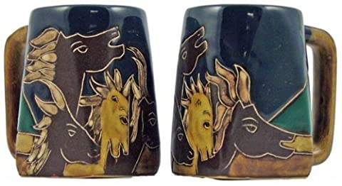 One (1) MARA STONEWARE COLLECTION - 12 Ounce Coffee Cup Collectible Square Bottom Mug - Horse