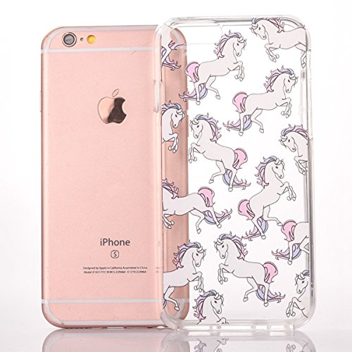 iPhone 6 Plus Custodia, iPhone 6S Plus Cover TPU Trasparente, JAWSEU Apple iPhone 6/6S Plus 5.5 Case Caso Coperture Bella Creativo Brillante Cristallo Trasparente Custodia Cover per iPhone 6S Plus Ult Pony
