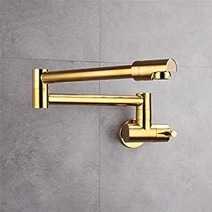 Cobre lleno en la pared plegable individual fría cocina grifo fregadero telescópico giratorio grifo de oro