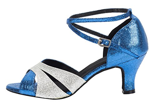 TDA , Peep-Toe femme 6cm Heel Blue Silver