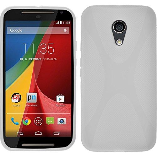 PhoneNatic Case für Motorola Moto G 2014 2. Generation Hülle Silikon weiß, X-Style + 2 Schutzfolien