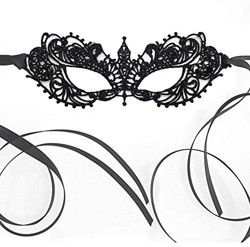 Anastasia Lace Elegant Mask for Masquerade Prom Halloween Carnival Mask Ball (Black) (Masken Lace Masquerade Black)