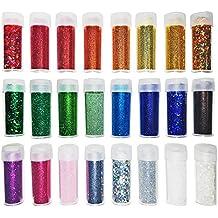 Set di glitter in colori assortiti - per hobbistica, trucco, nail art - diverse grandezze - super brillanti - 24 pezzi - Otter Ornamento