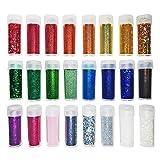 Extrafeiner Glitter für Kunst & Handwerk - Glanz-Dekoration für Gesicht und Nägel - Set aus 24 Farben