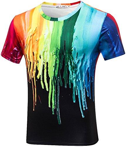 Pizoff Unisex Sommer leicht bunt bequem cool Digital Print T Shirts mit bunt Farbspritzer 3D Muster, Y1788-10, Gr. XL(EU-L) (Print-shirts)