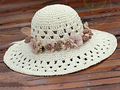 Chapeau de soleil d'été Chapeau de paille tissé à la main Ecran solaire Plage Vacances Loisir Sauvage Grand, brim, chapeau Pour les voyages de plage sortants ( Couleur : 3 ) 10
