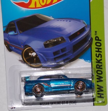 2014 Hot Wheels Nissan Skyline GT-R (R34) Blue 230/250 HW WORKSHOP Then And Now by Hot Wheels