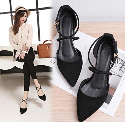 sandali delle donne con pelle di pecora di spessore indicato i pattini semplice lato selvaggio vuoto Black