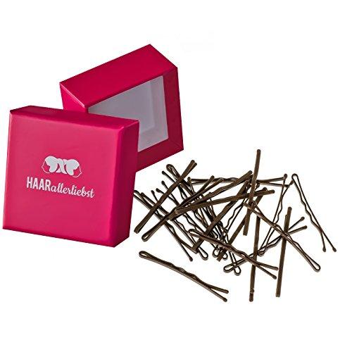 HAARallerliebst MORE GRIP Haarklammern Bobby Pins Anti Rutsch (24 Stück | braun | 5cm) ULTRAHALT durch spezielle Lackierung inkl. Schachtel zur Aufbewahrung (Schachtelfarbe: pink)