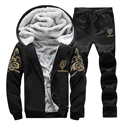 Bazhahei uomo top,uomo zip felpe giacche invernali caldo tuta cappotto hooded sweatshirt cappuccio pantaloni 2 pezzi jogging palestra set