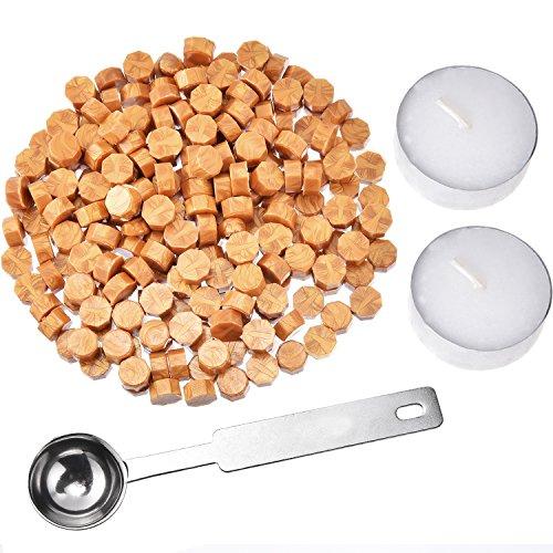 230 Stücke Siegellack Perlen Stempel Dichtung Stick Zubehör mit 2 Stücke Kerzen und 1 Stück Schmelzlöffel für Stempel Versiegelung (Gold)