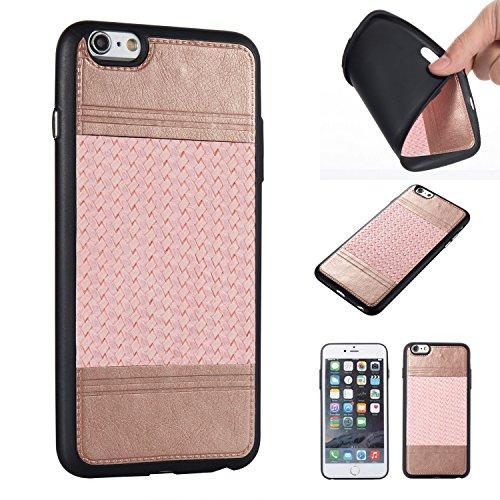 EKINHUI Case Cover Mischfarben Weaving Pattern PU Leder Skin Cover Shell Soft TPU / Silikon Rückseiten Cover Case für iPhone 6 & 6s ( Color : H ) D