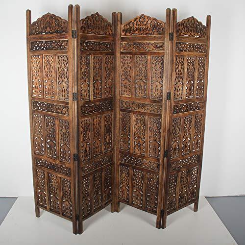 Casa Moro Orientalischer Paravent Raumteiler Firdaus 203x183 cm 4 teilig aus massiv Mangoholz & MDF | Indische Trennwand als Raumtrenner & schöne Dekoration | Kunsthandwerk Pur | PV5560