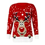 Damen Pullover FORH Frauen Cute Weihnachten Hirsch Gestrickte Pullover Langarm Pullover Jumper Sweatshirt Bluse Winter Warm Casual Stricken Sweater Shirt Top (Rot)