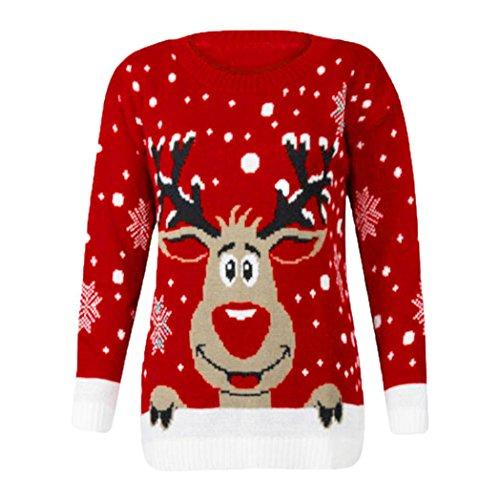 Damen Pullover FORH Frauen Cute Weihnachten Hirsch Gestrickte Pullover Langarm Pullover Jumper Sweatshirt Bluse Winter Warm Casual Stricken Sweater Shirt Top (Rot)