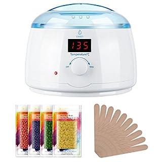 LAVANY Waxing Set Wachs Haarentfernung Wax Warmer, Warmwachs Wachswärmer mit 4 X 100g Wachsperlen, 10 X Holzspateln, 30-135 °C LCD-Temperaturanzeige, 400ml, Weiß