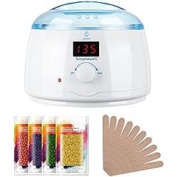 LAVANY Wachs Haarentfernung Wachswärmer mit 400ml Flüssiges Wachs Kessel, 4 Beuteln 100 g Wachsperlen, 10 Holzspateln; Temperaturen von 30-135 °C mit LCD-Temperaturanzeige, Weiß