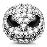 GNOCE Jack Schädel 925 Sterling Silber Beads Charms Pandora mit Cubic Zirkonia für Halloween Anhänger für Armband und Halskette