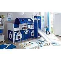 Preisvergleich für Hochbett mit Rutsche und Turm Spielbett Ekki Landhaus Kiefer massiv Weiss mit Farbauswahl, Vorhangstoff:Blau Weiss