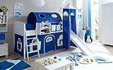 Hochbett mit Rutsche und Turm Spielbett Ekki Landhaus Kiefer massiv Weiss mit Farbauswahl, Vorhangstoff:Blau Weiss