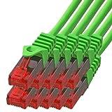 BIGtec - 10 Stück - 3m Gigabit Netzwerkkabel Patchkabel Ethernet LAN DSL Patch Kabel grün (2X RJ-45 Anschluß, CAT.5e, kompatibel zu CAT.6 CAT.6a CAT.7) 3 Meter