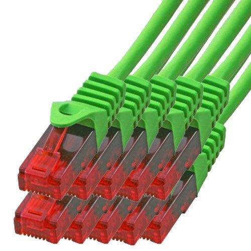 BIGtec - 10 Stück - 2m Gigabit Netzwerkkabel Patchkabel Ethernet LAN DSL Patch Kabel grün (2X RJ-45 Anschluß, CAT.5e, kompatibel zu CAT.6 CAT.6a CAT.7) 2 Meter -