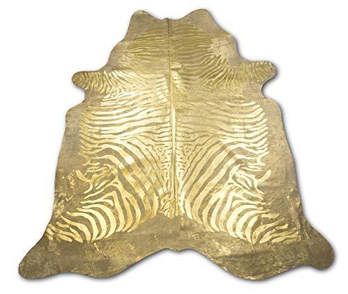 Zerimar Natur Rindsleder Teppich Metalic Gold Imitation Zebra | Nur für Kurze Zeit Massnahmen: 225x210 cm 3.58 m² | Teppich für Wohnzimmer | Schlafzimmer Teppich