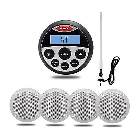 Marine stéréo Bluetooth étanche USB MP3AUX IN/OUT Audio Système de son étanche Bateau haut-parleurs et flexible et FM Radio AM antenne
