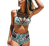BLZ 2017 Nuovo Arrivo Donna Push Up Imbottito Bikini Costume da Bagno Due Pezzi Vita Alta per Nuoto, Mare, S/3XL