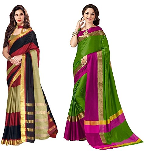 Indian Beauty Cotton Saree with Blouse Piece (IB-1114_Multi_Free)